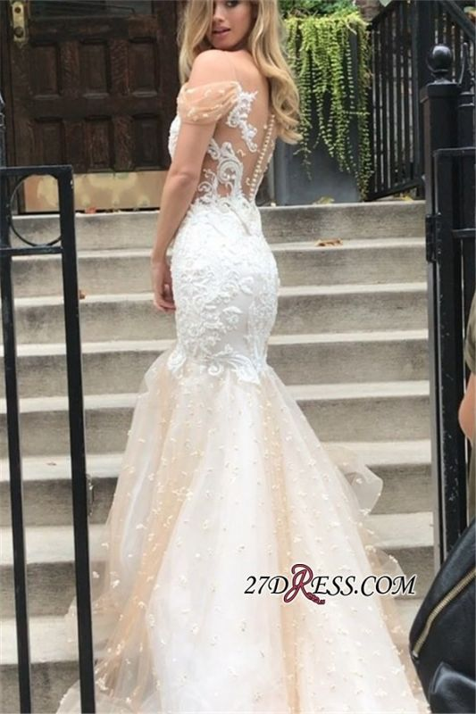 Tulle Newest Off-the-Shoulder Appliques Mermaid Wedding Dress