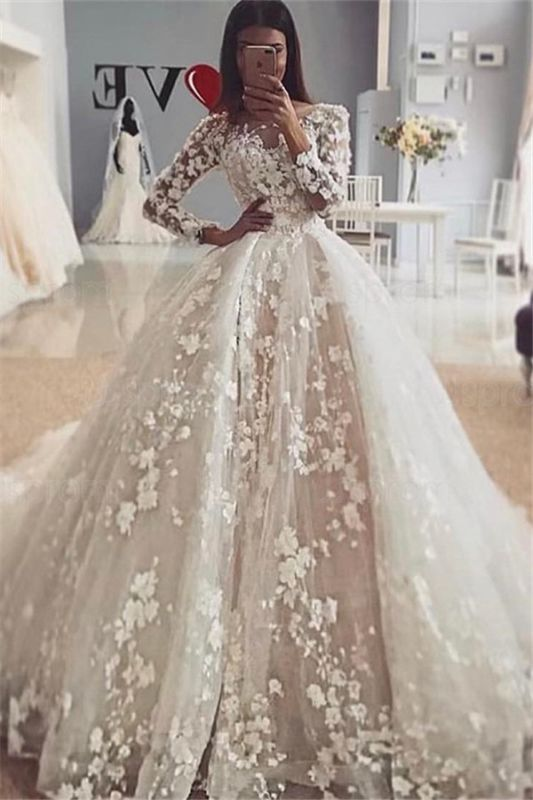 Delicate Floral  Appliques Puffy Ball Gown Long Sleeve Wedding Dress