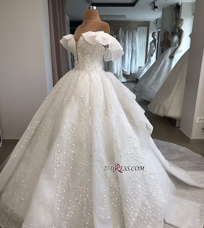 Beaded Ball-Gown Sequined Alluring Off-the-shoulder White Wedding Dresses