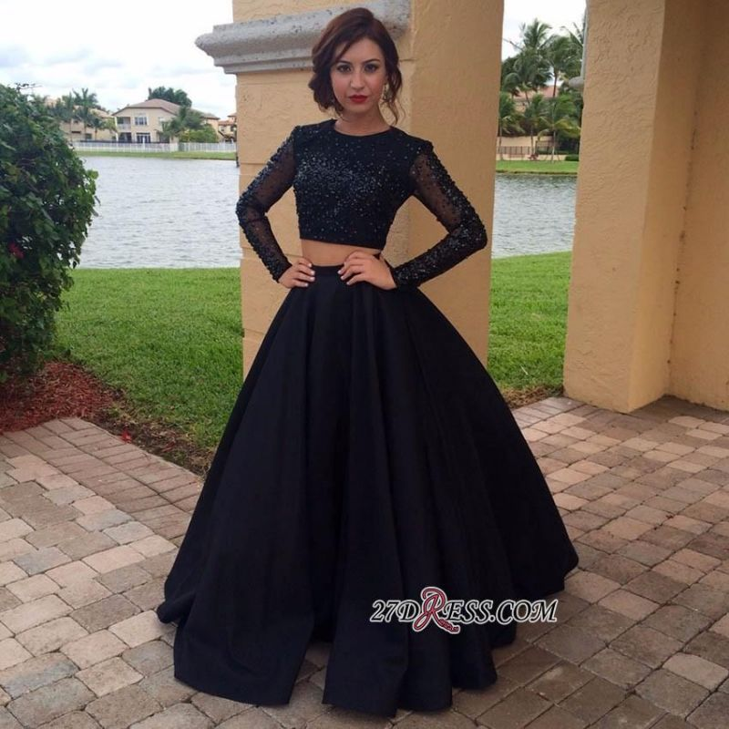 Two-Pieces Appliques Long-Sleeves Black A-Line Crystal Prom Dress BA4617