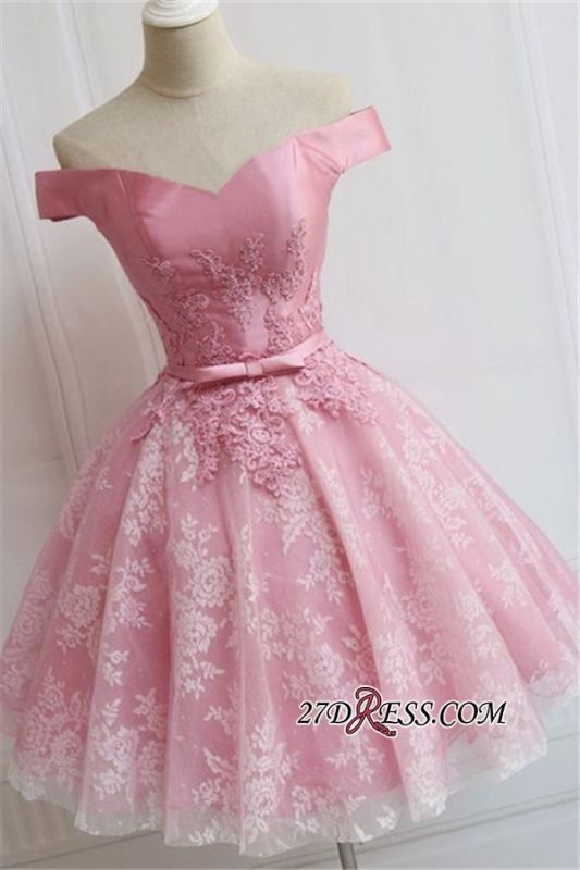 A-line Bowknot Off-the-Shoulder Pink Elegant Appliques Homecoming Dress