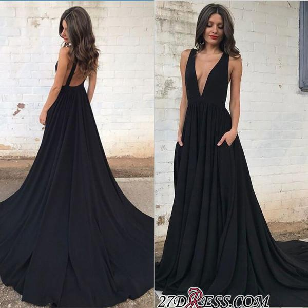 Sleeveless V-neck Straps Sexy Backless A-line Black Prom Dress sp0342
