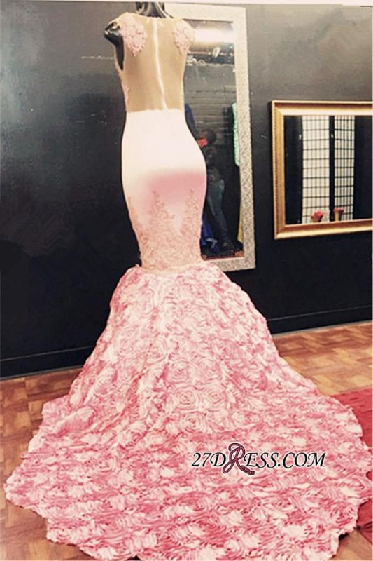 Gorgeous Illusion Appliques Flowers-Bottom Pink Sleeveless Lace Mermaid Prom Dress
