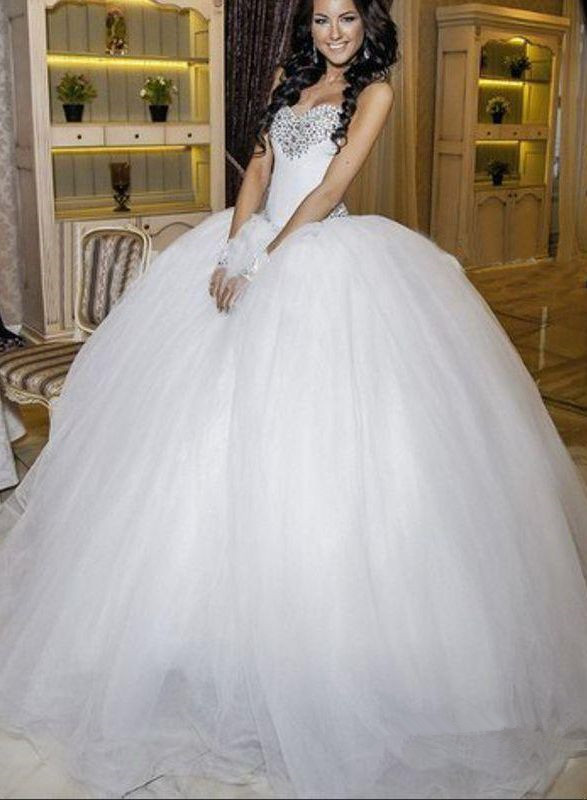Glamorous Ball Gown Tulle Wedding Dress 2020 Crystals White Court Train