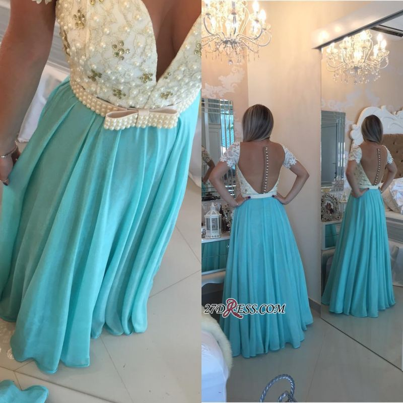 A-line Lace Pearls Short-Sleeve Chiffon Modest Prom Dress
