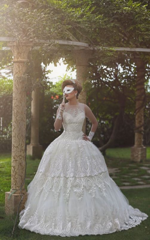 Elegant Tulle Lace Appliques Illusion Wedding Dress 2020 Ball Gown Zipper