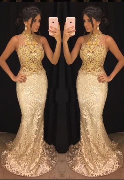 Elegant High-Neck Lace Evening Gowns   2020 Mermaid Prom Gowns