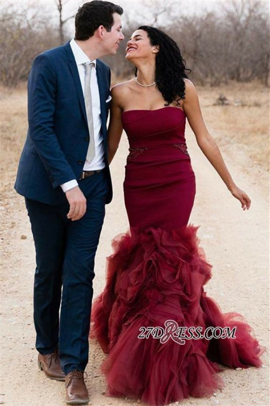 Charming Tulle Sleeveless Mermaid Burgundy Strapless Prom Dresses bk0