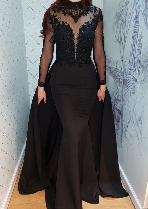 Modern Black Lace Long Sleeve Evening Dress | Detachable Train Prom Gown