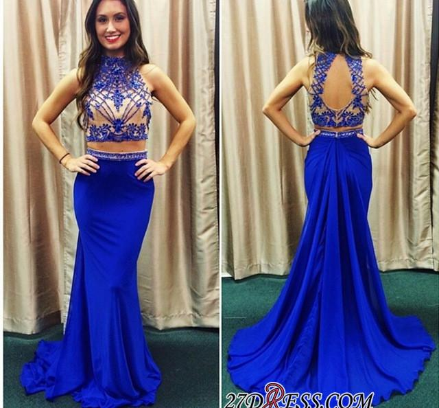 2020 Lace Mermaid Zipper High-Neck Two-piece Newest Prom Dress