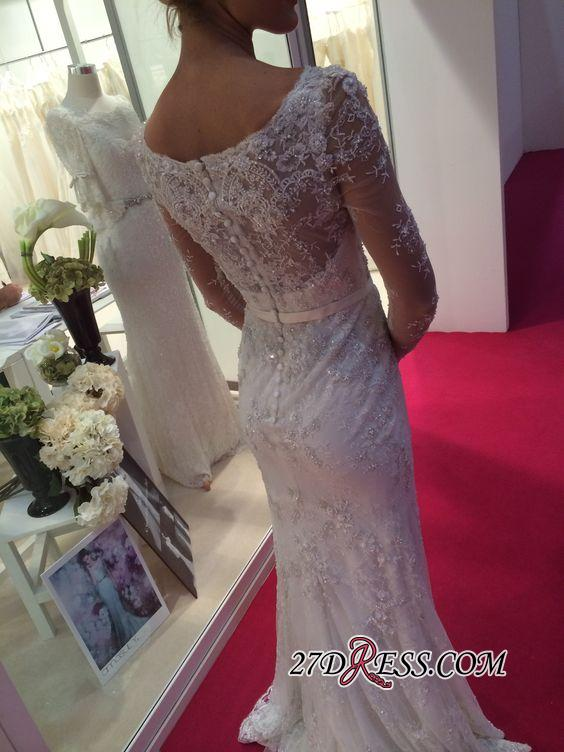 2020 Lace Buttons Mermaid Appliques Crystal Long-Sleeves Elegant Wedding Dress