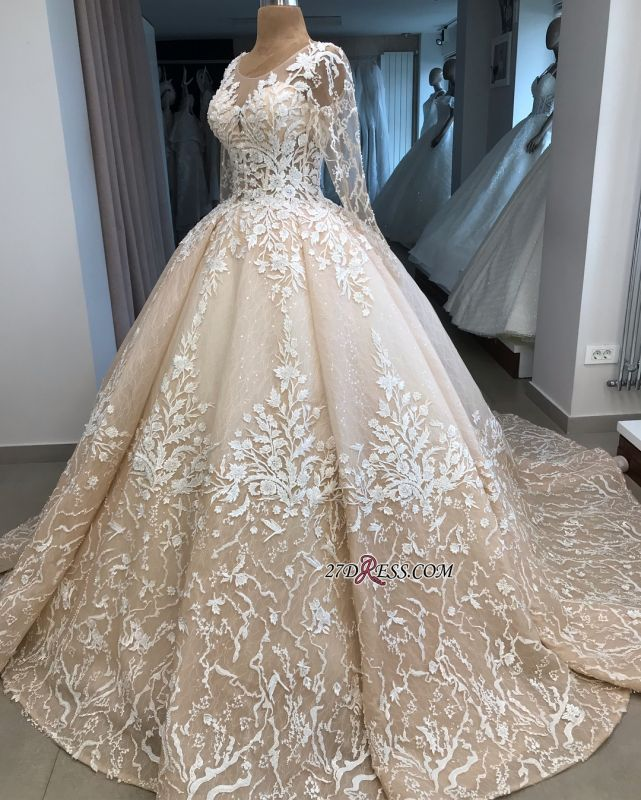 Long-Sleeves Appliques Scoop Brilliant Ball-Gown Wedding Dresses