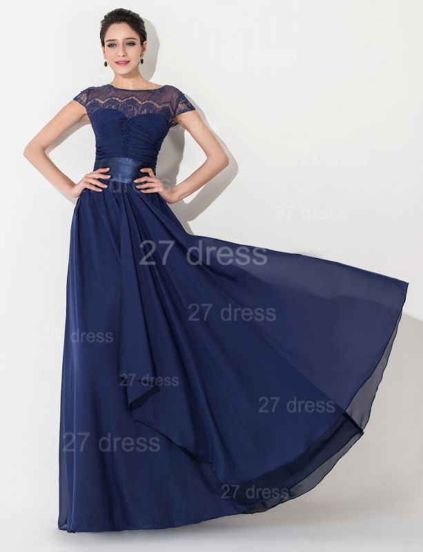 Newest Illusion Cap Sleeve Evening Dress A-line Bowknot