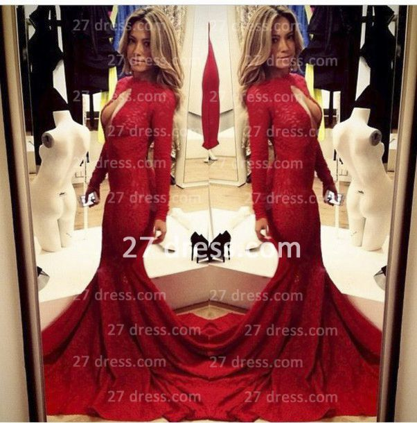 Sexy Lace Vintage Retro Mermaid prom Dresses Red Front Open Long Sleeve Prom Gowns with Sweep Train