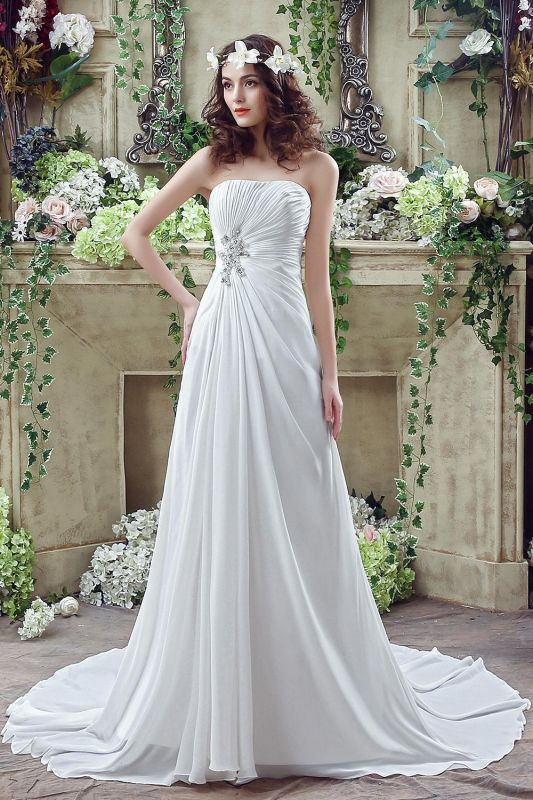Newest Strapless White Beadings 2020 Wedding Dress A-line Sweep Train