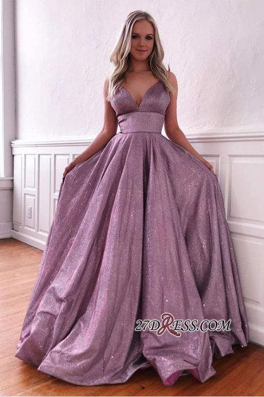 Spaghetti-strap Attractive V-neck A-line Ruffles Sequin-tulle Prom Dress