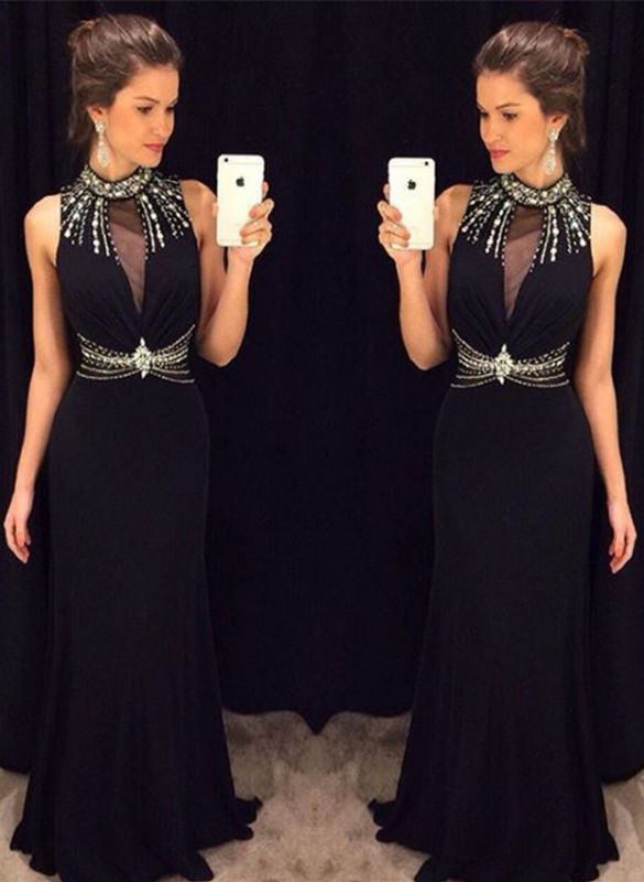 Delicate Black Mermaid Crystals Prom Dress 2020 High Neck Sleeveless