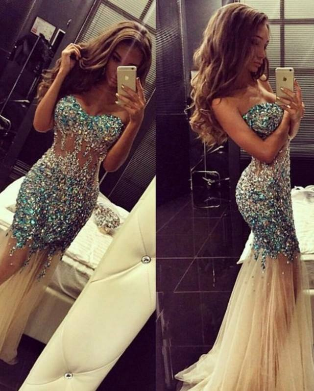 Luxurious Crystals Tulle Mermaid Prom Dress 2020 Sweep Train