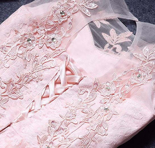A-Line Lace Pink Sleeveless Appliques Homecoming Dress