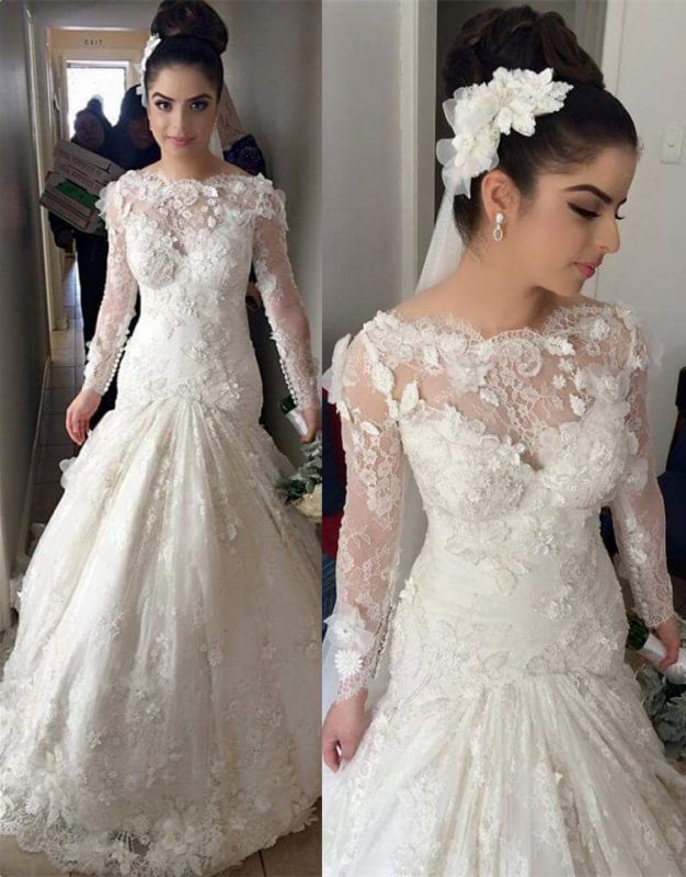 Delicate Illusion Mermaid Tulle Lace Wedding Dress With Flowers