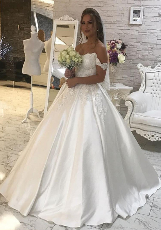 Glamorous Off-the-Shoulder Lace Wedding Dress 2020 Ball Gown Princess Bridal Wear