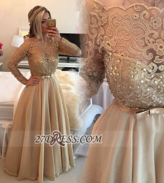 Luxurious Long Sleeve Beadings Evening Dress With Lace Appliques And Bowknot