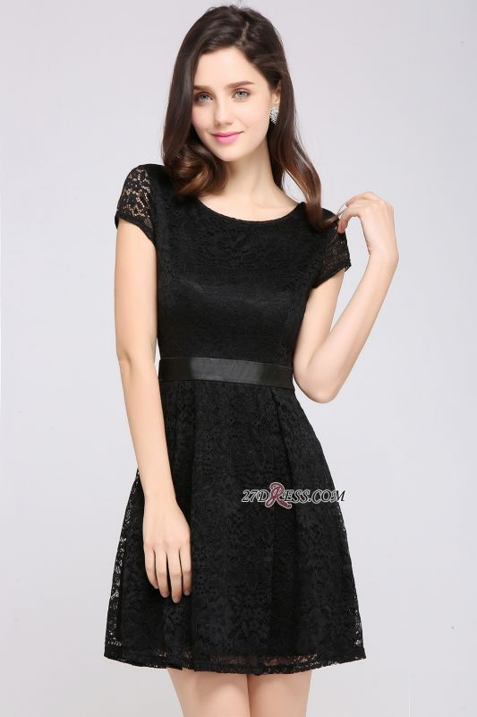 Cap-Sleeves Short Sash Simple Jewel Black Lace Homecoming Dress