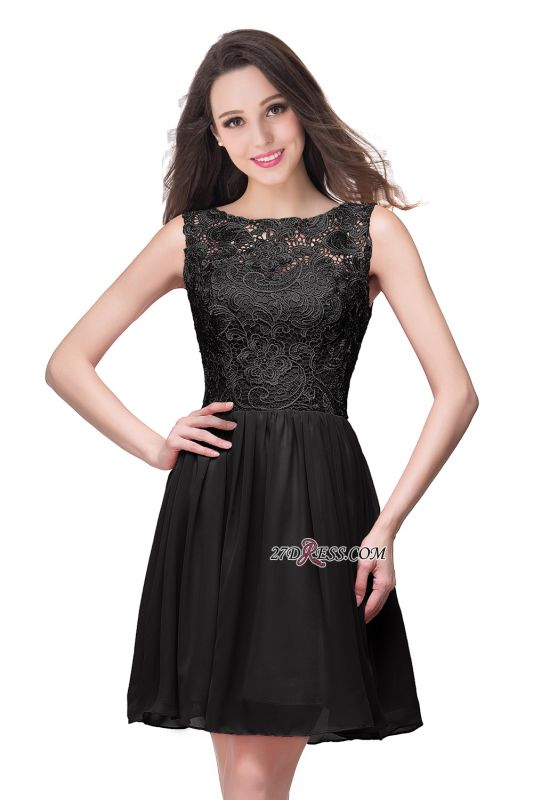 Cheap A-Line Short Lace Sleeveless Homecoming Dress