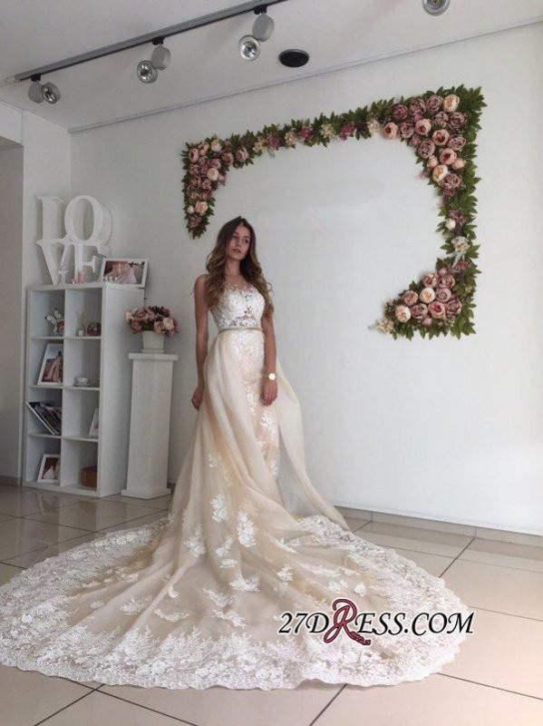 Mermaid Gorgeous Detachable-Cathedral-Train Tulle Lace Wedding Dresses