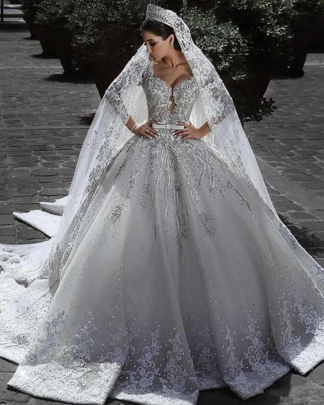 Glamorous Long Sleeve Ball Gown Wedding Dress | 2020 Lace Appliques Bridal Gowns On Sale