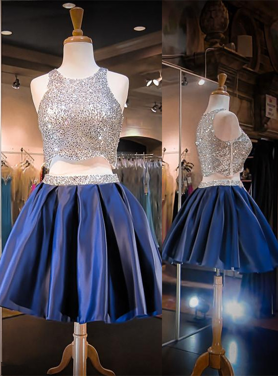 Gorgeous Two Piece Mini Homecoming Dress 2020 Sequined Jewel Sleeveless