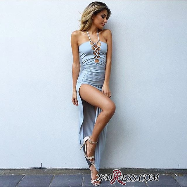 Bodycon Spaghetti-Strap Sexy Front-Split Sleeveless Prom Dress