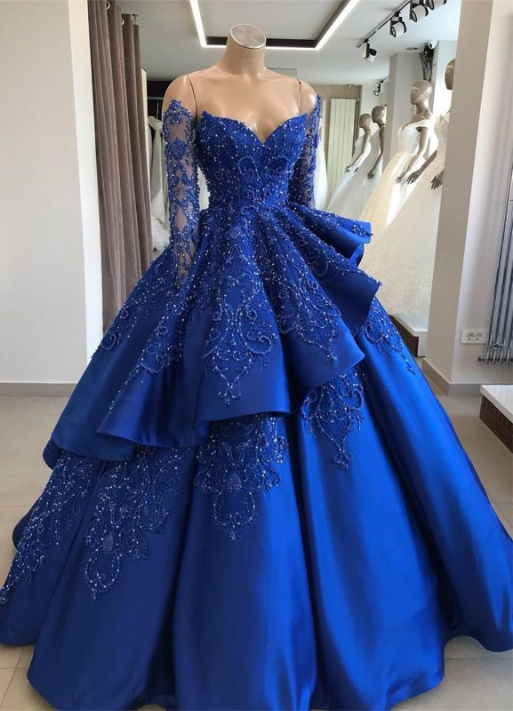 Gorgeous Royal Blue Lace Ruffled Evening Gown | 2020 Beads Prom Dress BC1125