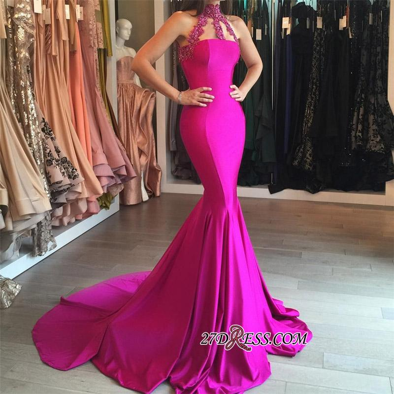 Sweep-Train Sleeveless Modest High-Neck Mermaid Lace-appliques Prom Dress