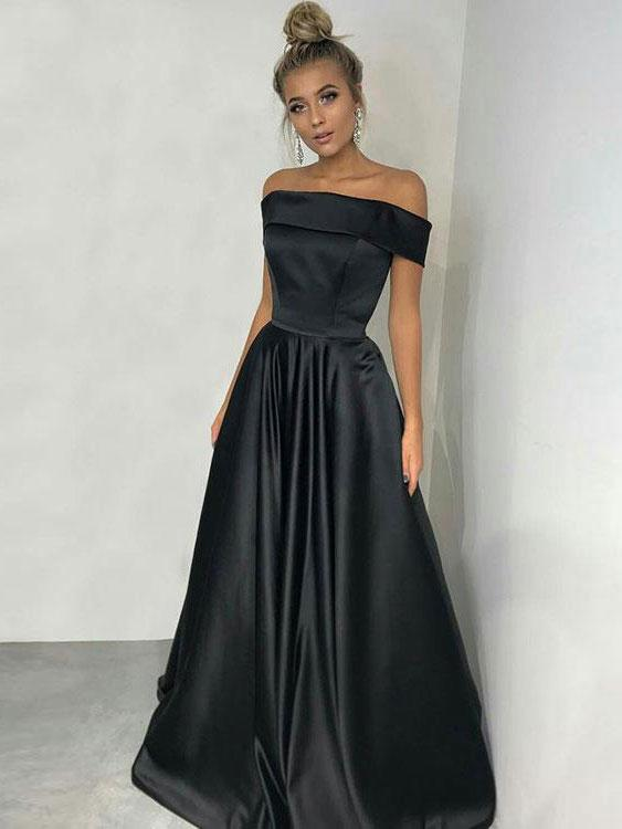Sexy Black Off-the-Shoulder Long 2020 Prom Dress Online