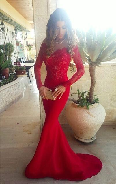 Sexy Red Lace Appliques Mermaid Prom Dress 2020 Sweep Train Long Sleeve