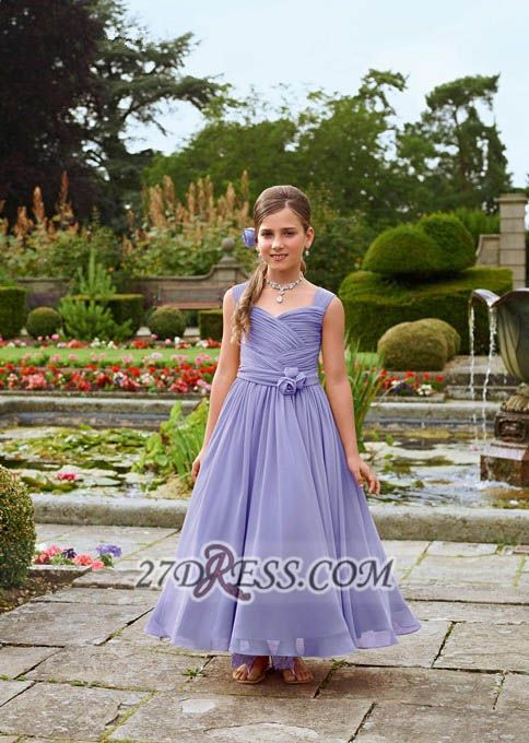 Lovely Sleeveless Chiffon Floor-length Girl Pageant Dress With Flower