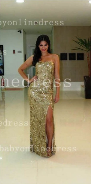 A-line Crystals Long Strapless Prom Dresses with Dress Party Gold Sequined Side Slit Party Pageant Gowns BA5095