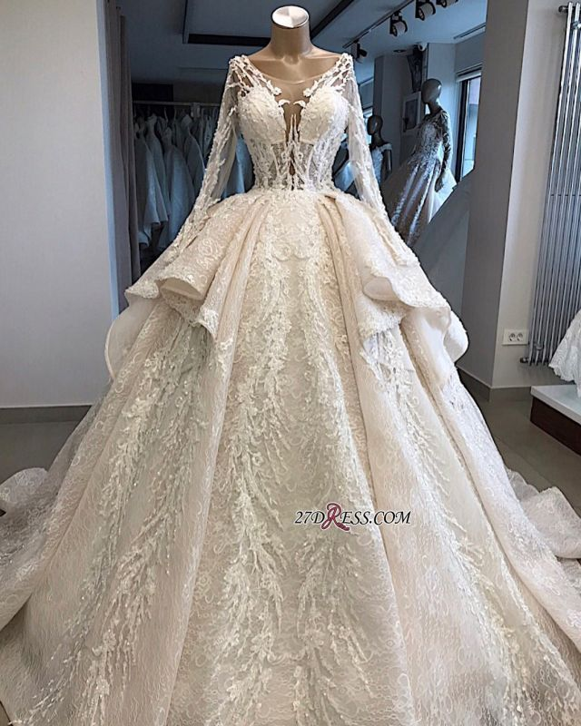 Long-Sleeves Layered Appliques Scoop Amazing Wedding Dresses