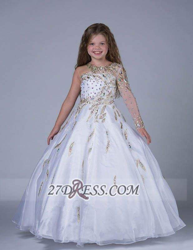 Glamorous Jewel Floor-length Girl Pageant Dress Ball Gown With Crystals