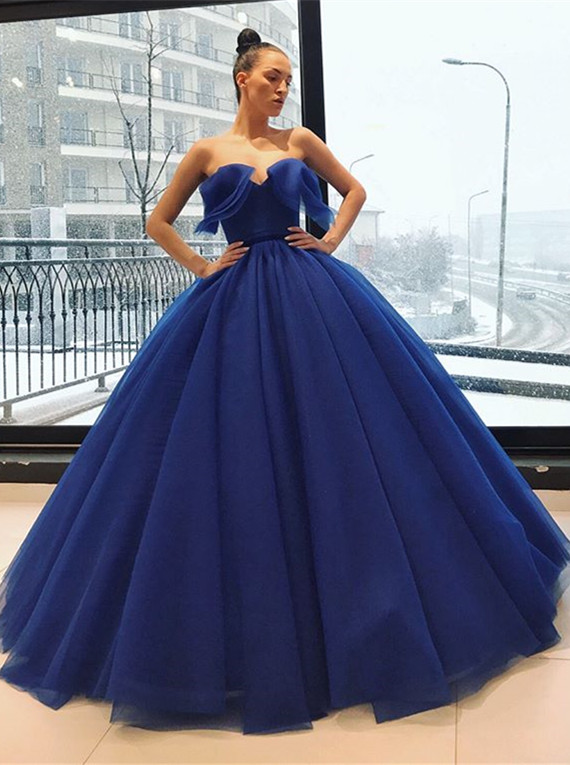 Gorgeous Sweetheart Long Evening Gowns | Ball Gown Blue Prom Dress