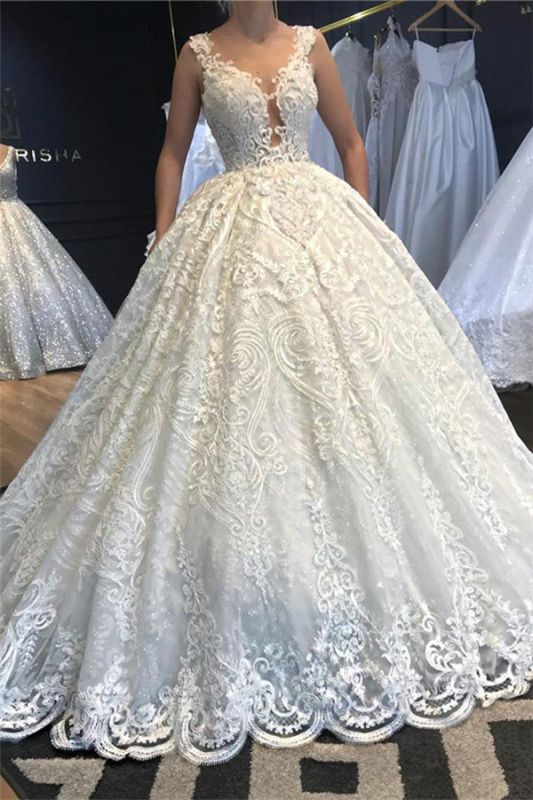 V-Neck Strap Sleeveless Beading Wedding Dress Lace Appliques Ball Gowns