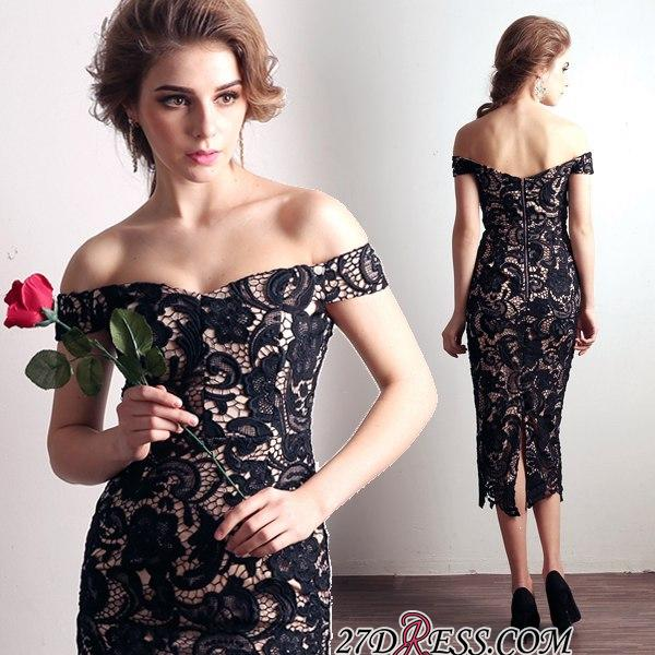 Back-Zipper Sheath-Column Elegant Off-the-shoulder Lace Evening Dress