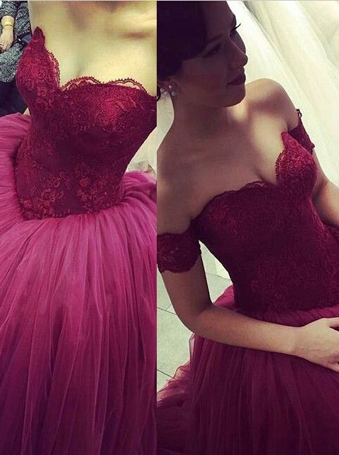 Modern Off-the-shoulder Tulle Lace Evening Dress 2020 Princess Sweep Train
