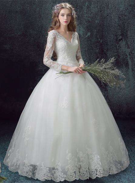 Romantic Lace Tulle Ball Gown Wedding Dress 2020 3/4-Long Sleeve