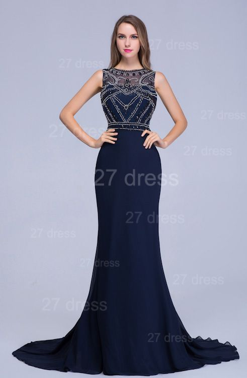 Newest Illusion Mermaid Beadings Evening Dress Sweep Train