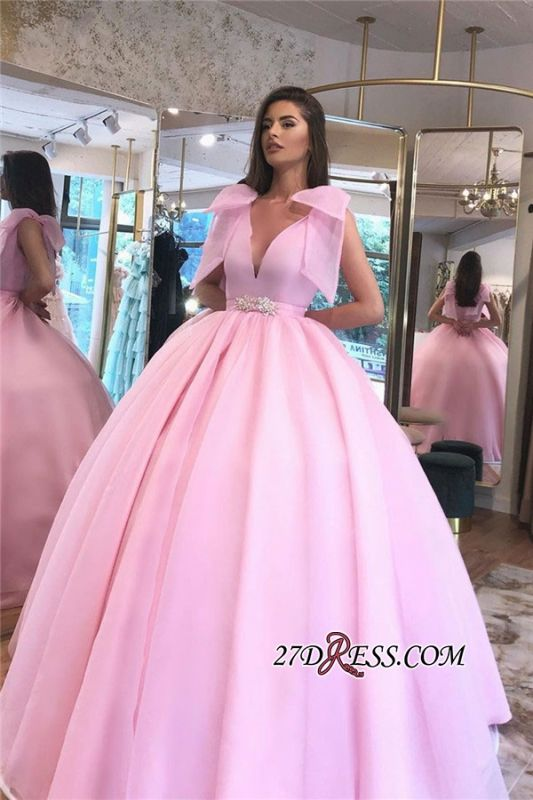 V-neck Beaded Ball-gown Puffy Hot-pink Prom Dress