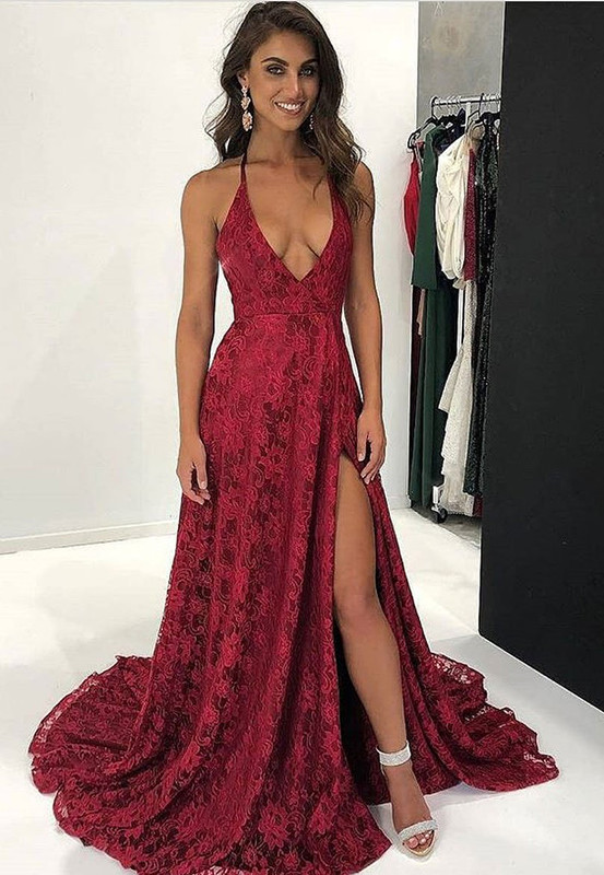 Dark Red Lace Prom Dress | 2020 V-Neck Evening Gowns With Slit BA9243