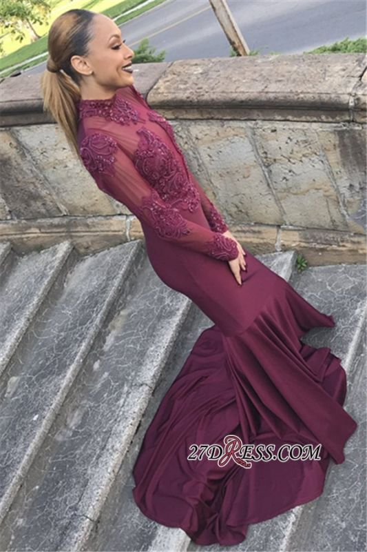 Burgundy Long-Sleeves Lace Glamorous Appliques Mermaid Crew Prom Dresses | Long Sleeves Lace Appliques Evening Gowns BK0