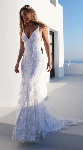 Glamorous Spaghetti Strap Sleeveless Lace Appliques Prom Dress   Mermaid Criss Cross Strings Evening Gowns BC0489